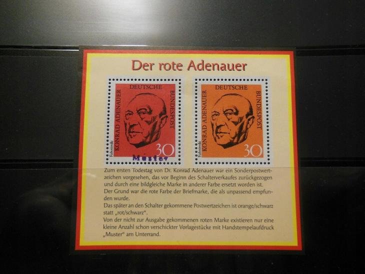 Německo BRD SRN 1968 Známky aršík Mi 567/XI ** Adenauer faksimile - Filatelie