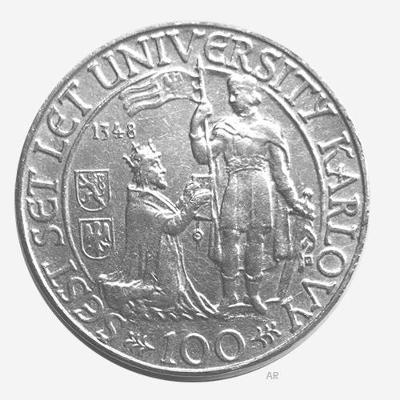 Ag 100 koruna 1948 - 600. výročí založení University Karlovy perfektní