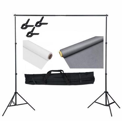 Kompletní set pro nastavení fotopozadí 215 x 300 cm, Barva: bílá, šedá