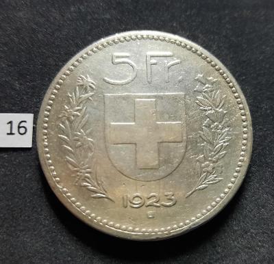 5 frank francs Švýcarsko 1923  Stříbro