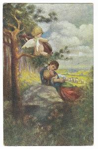 Pohlednice, umělecká, Magdič, mladá láska, MF, 30/33