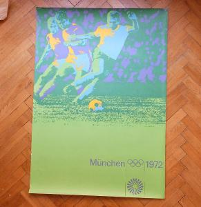 OLYMPIÁDA MÜNCHEN 1972 FOTBAL FOOTBALL FUSSBALL AICHER PLAKÁT 118 x 84