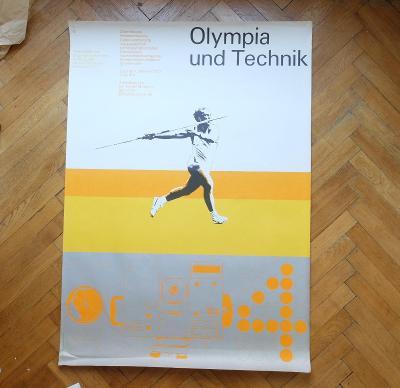 OLYMPIÁDA MÜNCHEN 1972 OLYMPIA UND TECHNIK AICHER PLAKÁT 118 x 84