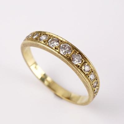 Zlatý prstýnek s diamanty cca 0.3CT v51.5