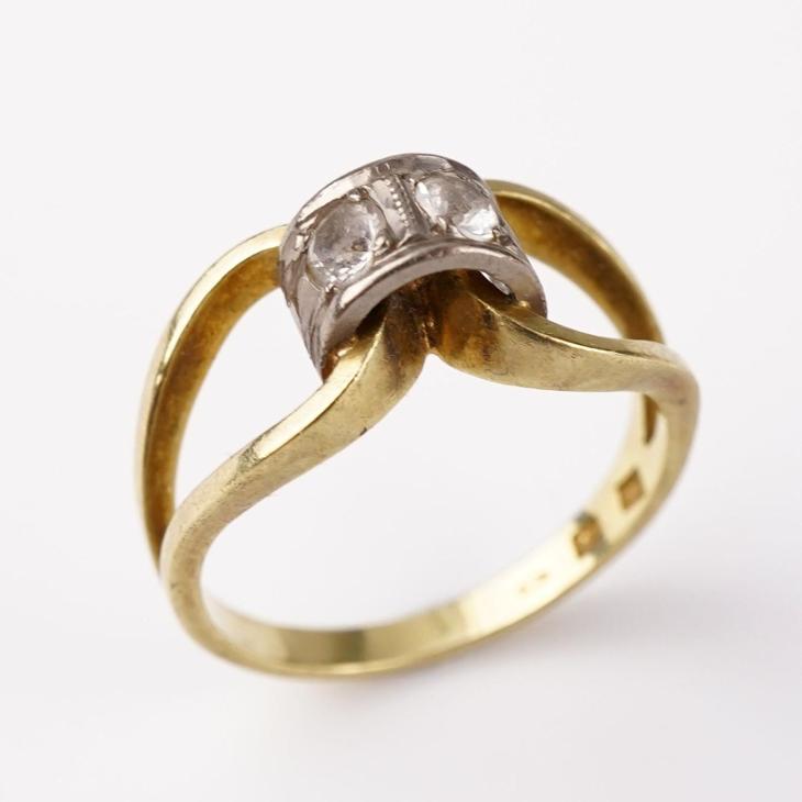 Zlatý prstýnek kamínky v51.5 - Starožitnosti