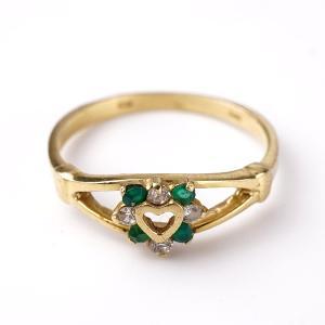 Zlatý prstýnek s kamínky srdíčko v54.5