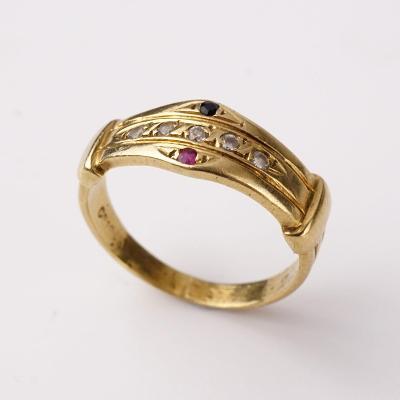 Zlatý prstýnek s kamínky v53