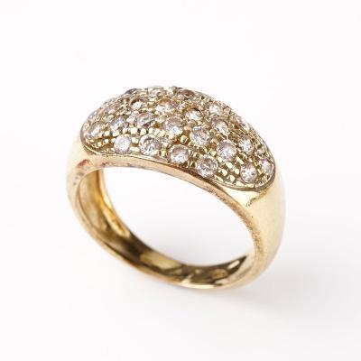 Zlatý prstýnek s kamínky v56,5
