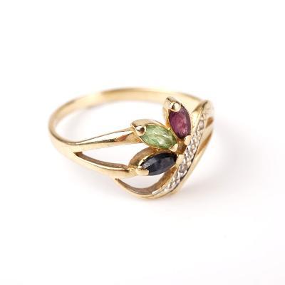Zlatý prstýnek barevné kamínky v55