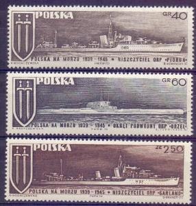 Polsko 1970 Známky Mi 2029-2031 ** Druhá světová válka lodě