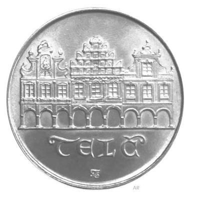 Stříbrná mince 50 Koruna 1986 město Tel�, perfektní stav!