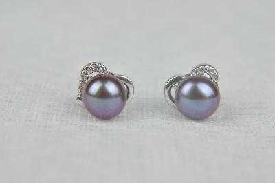 Stříbrné náušnice s říční perlou a zirkony