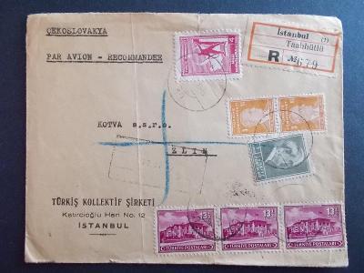 R doporučeně dopis Zlín Bata Turecko Istanbul 1945 filatelie letecký