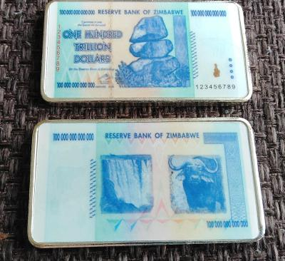Cihla ZIMBABWE 100 trl. DOLLARS bankovka postříbřená cihlička