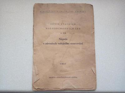 Nostalgický dokument-ceník+ receptář nápojů ve veř. stravování r. 1957