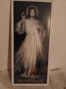 starý obraz JEŽÍŠ NÁBOŽENSTVÍ  RÁM SKLO