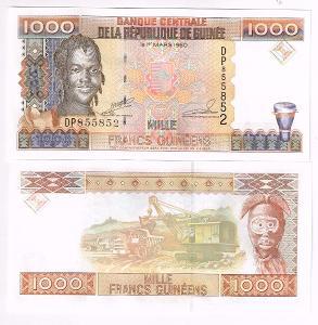 Guinea 1000 franků serie DP P-37 1998 UNC / N