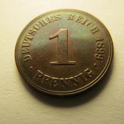 Německo, Deutsches Reich , 1 pfennig z roku 1899 A - Stav !!!