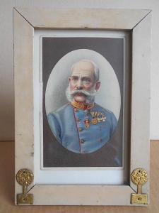 FRANC JOSEF - SECESNÍ RÁMEČEK - ZASKLENO ROZ. 20X14 cm. Na zavěšení .