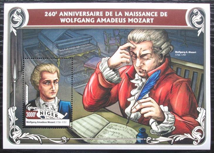 Niger 2016 Wolfgang Amadeus Mozart Mi# Block 564 Kat 12€ 2343 - Filatelie