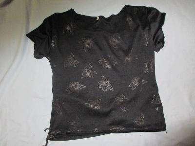 triko -černé-kytky