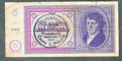 5 korun 1940 PŘETISK serie A031