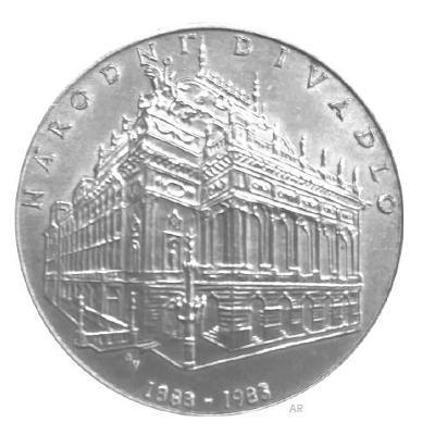 Stříbrná mince 100 Kčs -100. výročí otevření Národního divadla