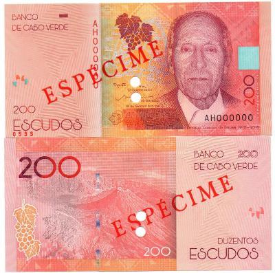 Kapverdy 200 escudo 2019 P-New UNC Novinka SPECIMEN