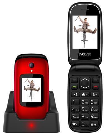 EVOLVEO EasyPhone FD, vyklápěcí mobilní telefon pro seniory, stojánek