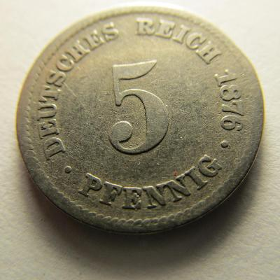Německo, Kaiser Reich , 5 pfennig z roku 1876 D