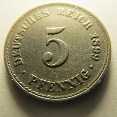 Německo, Kaiser Reich , 5 pfennig z roku 1899 A