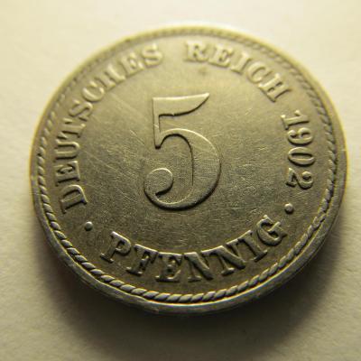 Německo, Kaiser Reich , 5 pfennig z roku 1902 A