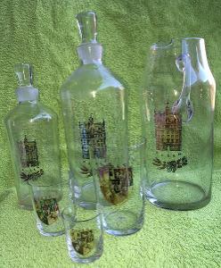 Souprava skla PLZEŇ - 19ks džbán, karafy a skleničky