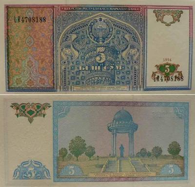 Uzbekistán 5 sum P75  UNC