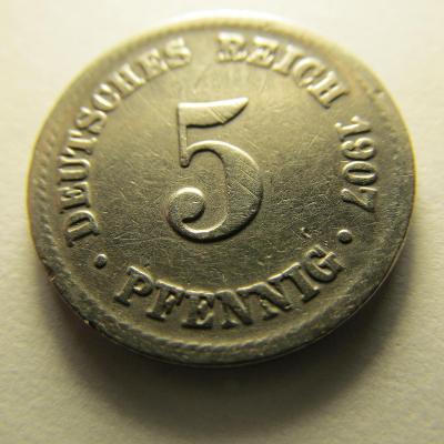 Německo, Kaiser Reich , 5 pfennig z roku 1907 A