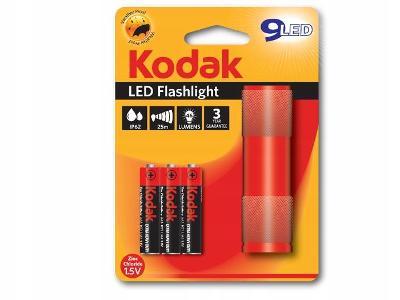 Mini svítilna KODAK 9 LED IP62 25m + 3xAAA - Červené