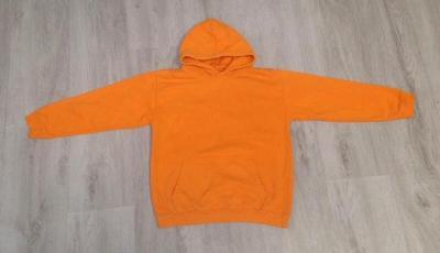 Oranžová mikina s kapucí - vel.140/146 - Top stav