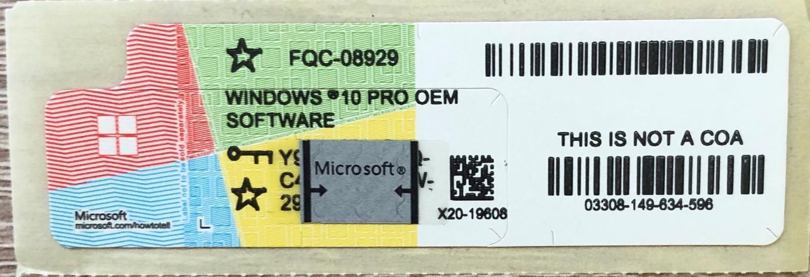 Windows 10 Pro OEM (fyzická licence - COA) + Faktura - Software