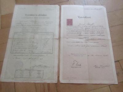 Starý dokument Vysvědčení na odchodnou 2 ks/1910,1925/
