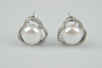 Luxusní stříbrné náušnice s říční perlou a zirkony od 1 Kč
