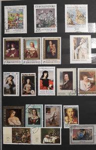 Sada známek umění - různá známky i země původu