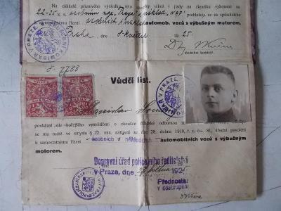 Dokument Řidičský průkaz ČSR Vůdčí list Polička Praha nákladní auto