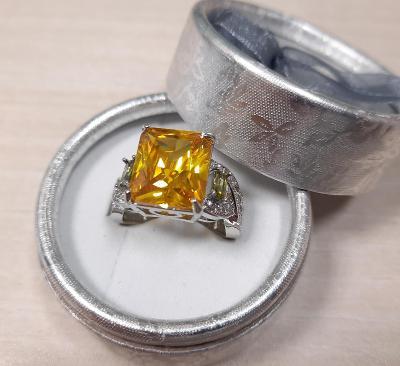 MASIV CITRÍN stříbrný prsten!!