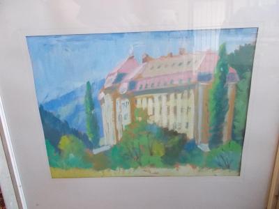 Obraz akvarel větší rozměr Hustopeče nad Bečvou zámek sklo rám