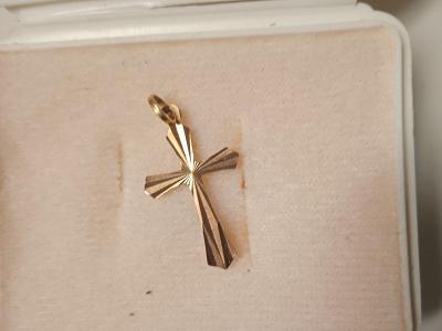 Zlatý přívěšek KŘÍŽEK růžové 14k.zlato
