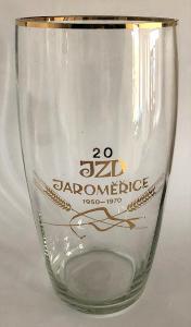 Stará pivní sklenice / sklenička / sklenka JZD JAROMĚŘICE 1950 - 1970