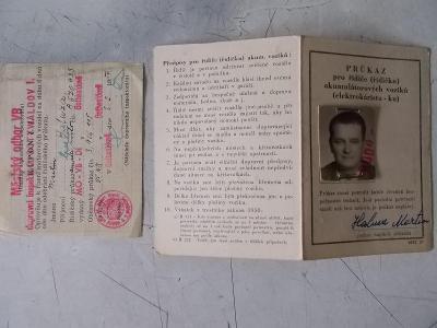 Dokument starý Řidičský průkaz vozík akum Gottwaldov Rudý Říjen kupon