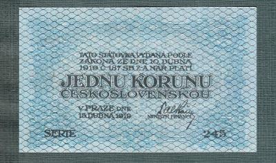 1 koruna 1919 serie 245 stav 1+