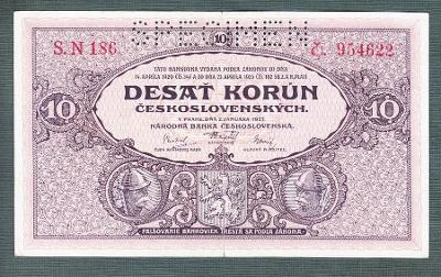 10 korun 1927 serie S.N186 perf. stav 1-