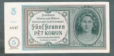 5 korun 1940 serie A047 NEPERFOROVANA stav 1